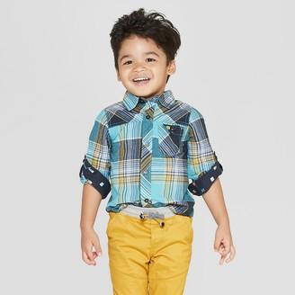Osh Kosh Genuine Kids From Oshkosh Genuine Kids® from OshKosh Toddler Boys' Long Sleeve Twin Print Plaid Woven Button-Down Shirt - Teal 12M