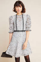 ML Monique Lhuillier Embroidered Lace Mini Dress