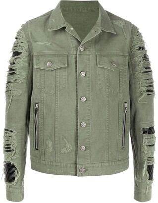 Balmain Ripped Details Denim Jacket