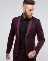 Religion Skinny Suit Jacket In Burgundy