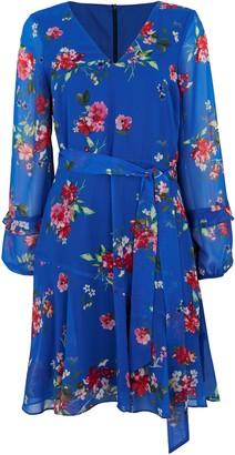 Wallis Blue Floral Print Ruffle Sleeve Dress