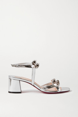 Christian Louboutin Galerietta 55 Studded Mirrored-leather Sandals - Silver