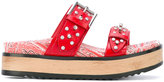 Alexander McQueen studded embroidered sandals - women - Leather/metal/rubber - 36