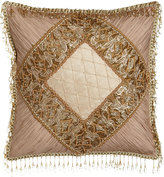 "Sweet Dreams Alessandra Pillow with Shirred Silk Corners & Bead Embellishment, 16""Sq."