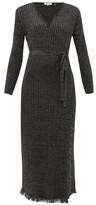 Diane von Furstenberg Bobbi Ribbed Merino Wool-blend Lame Wrap Dress - Womens - Black