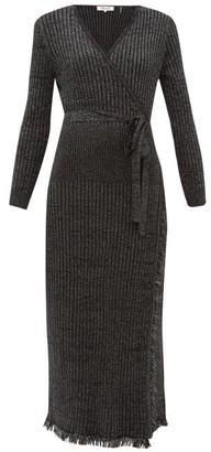 Diane von Furstenberg Bobbi Ribbed Merino Wool-blend Lame Wrap Dress - Black