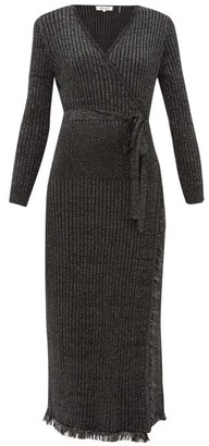 Diane von Furstenberg Bobbi Ribbed Merino Wool-blend Lame Wrap Dress - Womens - Black