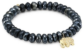 Sydney Evan 14K Yellow Gold, Black Spinel & Diamond Elephant Charm Beaded Bracelet