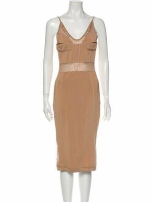 Balmain V-Neck Midi Length Dress
