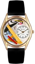 Whimsical Watches Women's C0620008 Classic Gold Architect Black Leather And Goldtone Watch