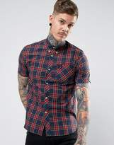 Fred Perry Reissues Short Sleeve Tartan Shirt In Navy