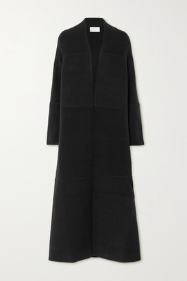 The Row Ariane Paneled Cashmere And Wool-blend Coat - Black
