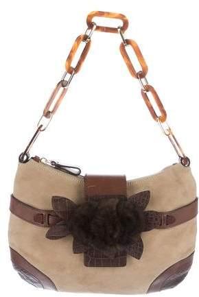 Valentino Fur-Trimmed Suede Shoulder Bag