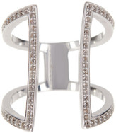 Argentovivo Sterling Silver CZ Double Bar Ring - Size 7