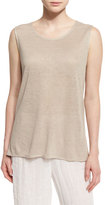 Caroline Rose Scoop-Neck Long Linen Tank, Natural, Petite