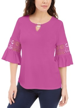 JM Collection Petite Crochet-Inset Top, Created for Macy's
