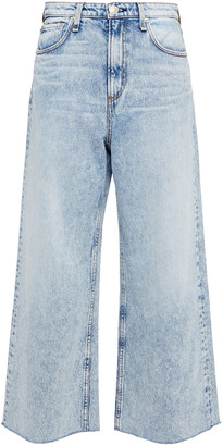 Rag & Bone Cropped Faded High-rise Wide-leg Jeans
