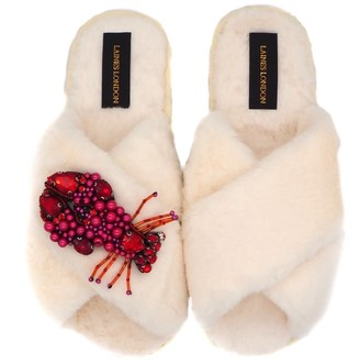 Laines London Cream Fluffy Slippers Beaded Lobster Brooch