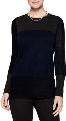 Misook Sheer Sleeve Colorblock Tunic