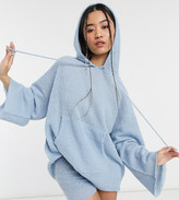 Collusion textured knitted hoodie co-ord in blue