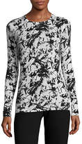 Kokun Print Fitted Crew Neck Cashmere-Bamboo Sweater