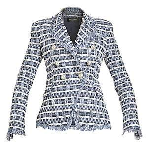 Balmain Women's Double Breasted Tweed Button Jacket