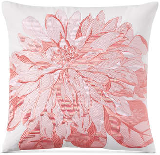 "Charter Club Damask Designs Embroidered Floral 16"" Square Decorative Pillow, Bedding"