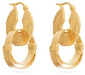 Jil Sander Double-hoop Drop Earrings - Womens - Gold