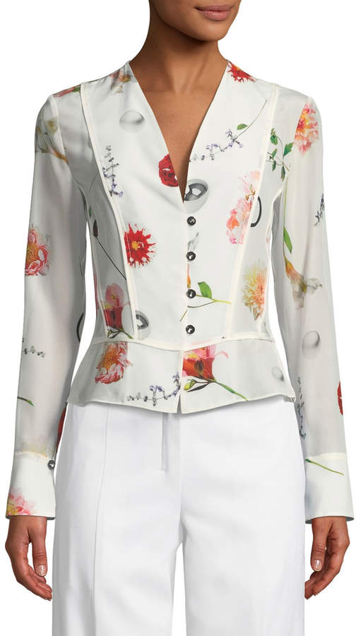 Narciso Rodriguez V-Neck Button-Front Long-Sleeve Floral-Print Silk Top