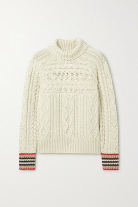 Burberry Striped Cable-knit Cashmere Turtleneck Sweater - Beige
