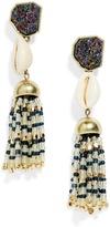 BaubleBar Cowry Tassel Earrings-Rainbow/Navy