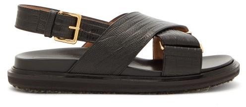 Marni Fussbett Lizard-effect Leather Slingback Sandals - Womens - Black