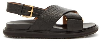 Marni Fussbett Lizard-effect Leather Slingback Sandals - Womens - Black