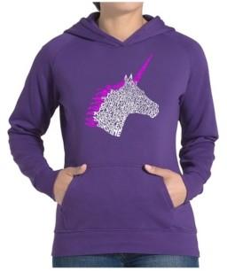 LA Pop Art Women's Word Art Hooded Sweatshirt -Unicorn
