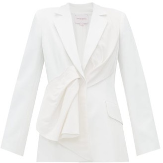 Carolina Herrera Draped Silk-taffeta And Twill Jacket - Ivory