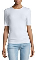 Frame Fitted Half-Sleeve Tee, Blanc