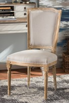 Wholesale Interiors Cadencia French Vintage Cottage Weathered Oak Finish Wood & Beige Fabric Upholstered Dining Chair