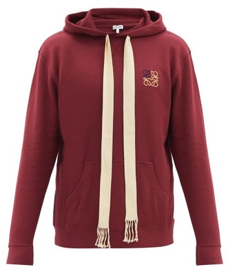 Loewe Anagram-embroidered Hooded Cotton Sweatshirt - Burgundy