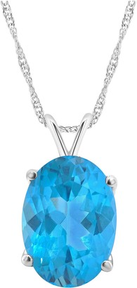 Sterling Silver 6.80 cttw Oval Blue Topaz Pendant with Chain