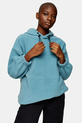 Topshop Womens Blue Oversized Fleece Hoodie - Blue