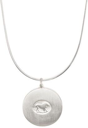 VICTORIA STRIGINI Large Lion Disc Pendant Necklace