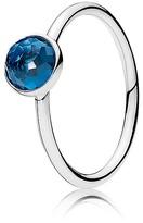 Pandora Ring - Sterling Silver & Glass December Droplet