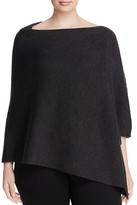 Eileen Fisher Plus Ribbed Asymmetric Wool Poncho
