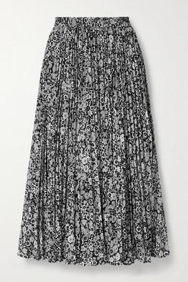 MICHAEL Michael Kors Zinnia Pleated Floral-print Chiffon Midi Skirt - Gray