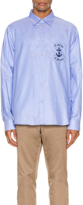 Gucci Embroidered Cotton Shirt in Sky Blue | FWRD