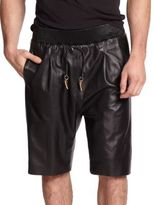 Giuseppe Zanotti Embeliished Racing Stripe Leather Shorts