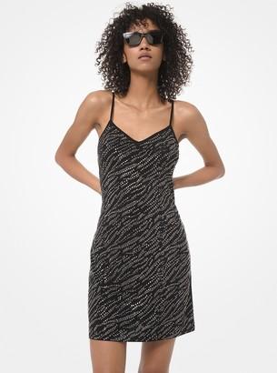 MICHAEL Michael Kors Zebra Studded Matte-Jersey Slip Dress