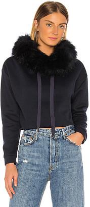 Jocelyn Faux Fox Hood Trim Cropped Sweatshirt