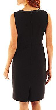 JCPenney 9 & Co.® Faux-Leather Trim Dress