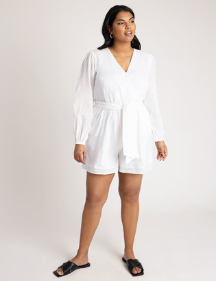 ELOQUII Romper with Puff Sleeves